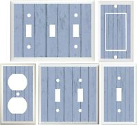 Wood Planks Blue Image Of Country Rustic Decor Light Switch Or Outlet Cover V674