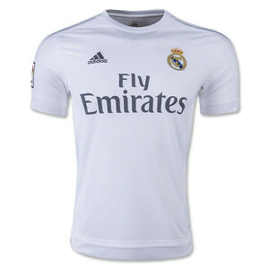 ebb12702e96 adidas Youth Real Madrid 15 16 Home Jersey White Clear Grey Onix ...