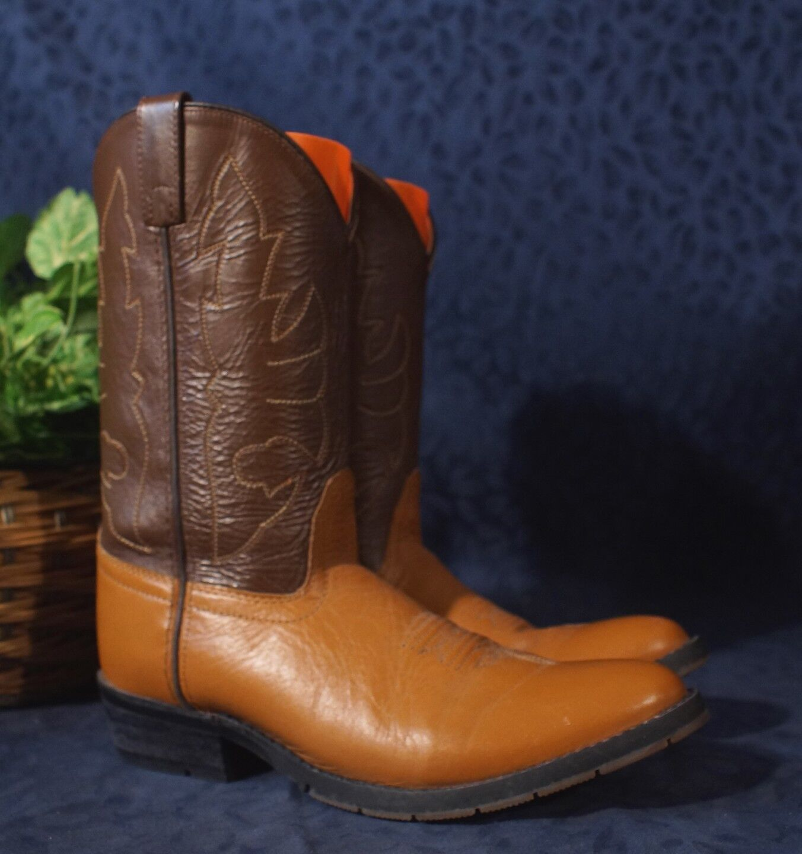 Excellent DOUBLE H Chocolate & Chestnut Brown Western Work Cowboy Boots Sz 7