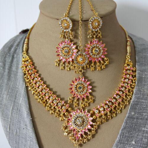 Schmuckset Collier Ohrringe Tikka Gold Rosa Bollywood Party Brautschmuck Indien