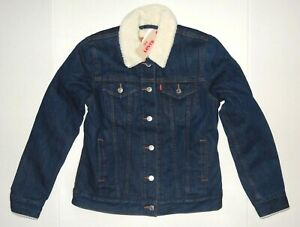 Levi-039-s-Women-039-s-Sherpa-Trucker-Jacket-Levis-Blue-Harbor-All-sizes-0002