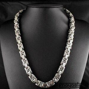 60cm-12mm-MACIZO-BIZANTINO-Collar-Cadena-Collar-acero-inoxidable-plata