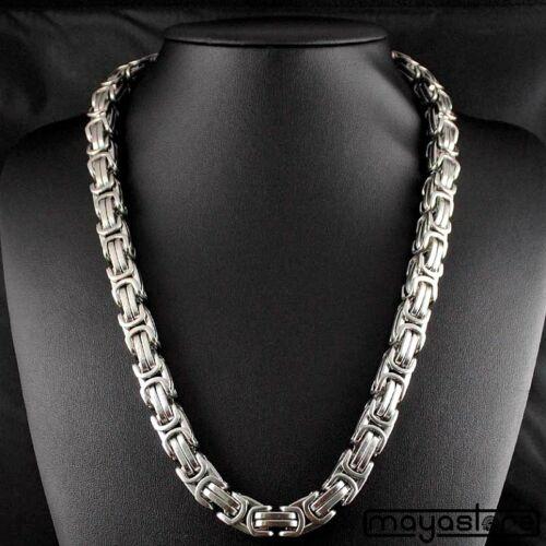 12mm x 40cm collar bizantino rey cadena tanques cadena cadena de acero inoxidable plata