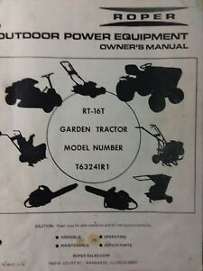 Roper RT-16T Lawn Garden Tractor T63241R1 Owner & Parts Manual 1974 SS/16  Sears)   eBayeBay