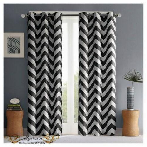 Modern Chevron Zigzag Black White Curtain 80 Light