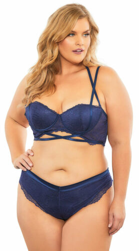 Womens Plus Size Alina Luxe Lace Thong Panty