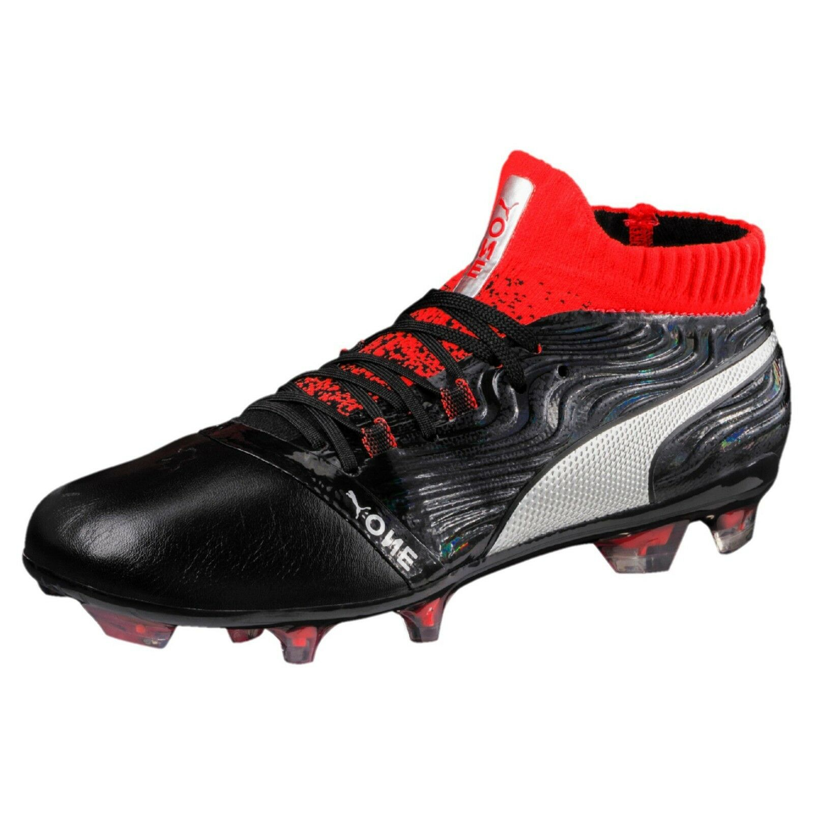 Puma One 18.1 Men's FG Soccer Cleats Football Football Football shoes Black Red Silver (BRAND NEW) 40e00c