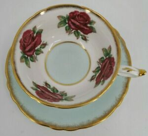 Paragon-Red-Cabbage-Rose-Band-Circle-Blue-Base-Maroon-Rare-Teacup-Cup-amp-Saucer