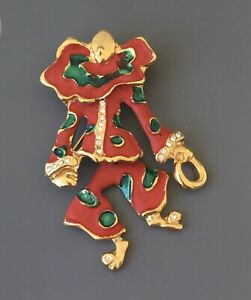 Vintage-Clown-with-movable-legs-brooch-in-enamel-on-gold-tone-metal