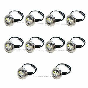 10X-12V-White-3-4-034-Side-3-LED-Marker-Trailer-Bullet-Chrome-Stainless-Bezel-Light