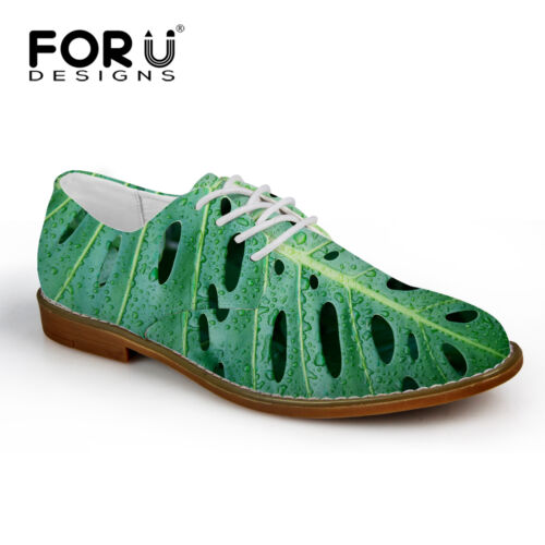 Green Mens Casual Recreational Shoes Printed Suede Fiber Dress Shoes Lace Up