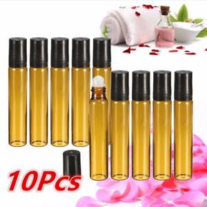 10PC-5-10ML-Amber-Roll-On-Glass-Bottle-Essential-Oil-Perfume-Plastic-Roller-Ball