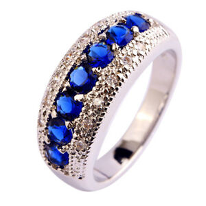 Sapphire-Quartz-amp-White-Topaz-Gemstone-925-Silver-Rings-Size-L-N-P-R-T-V-Y-Z