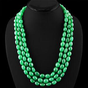 Finest-845-00-CTS-tierra-minada-3-Strand-Oval-Esmeralda-Rica-Verde-granos-collar