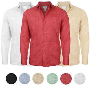 Men-039-s-Guayabera-Cuban-Beach-Long-Sleeve-Button-Up-Casual-Dress-Shirt-SLIM-FIT