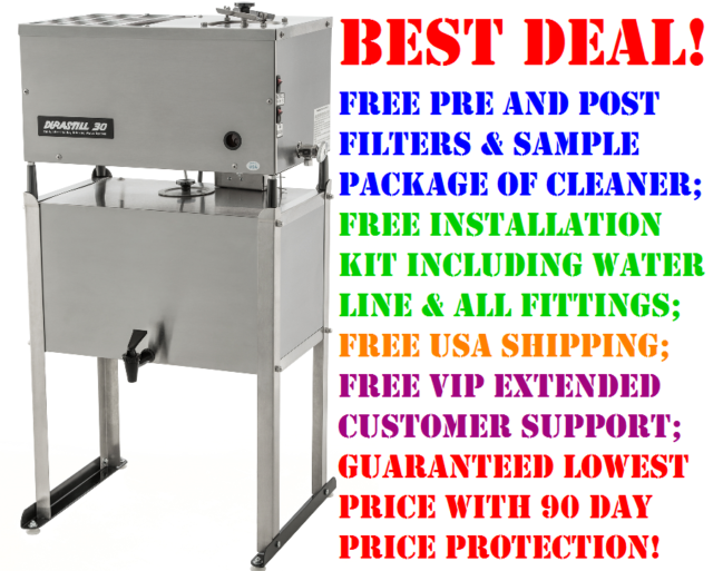 Casters and Site Level Gauge Durastill 12 Gallon Per Day Automatic Water Distiller with 10 Gallon Reserve