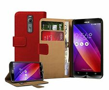 Wallet RED Leather Flip Case Cover Pouch For Asus Zenfone 2 (ZE551ML) +2 FILMS