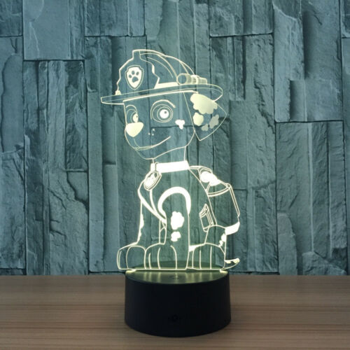 PAW PATROL CHASE RYDER 3D Acrylic LED 7 Colour Night Light Touch Table Lamp XMAS