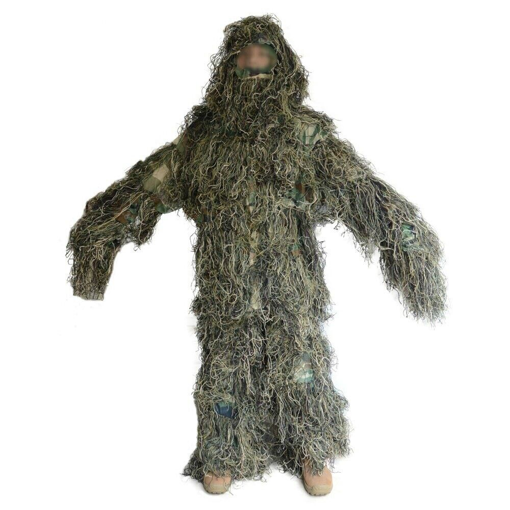 3D Woodland Camouflage Hunting Ghillie Suit Sniper Camo Forest  Leaf Poncho New  fashion mall