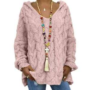 Long Sleeve Womens Oversized Knitted Pullover Tops Hooded  Jumper Sweater Hoodie