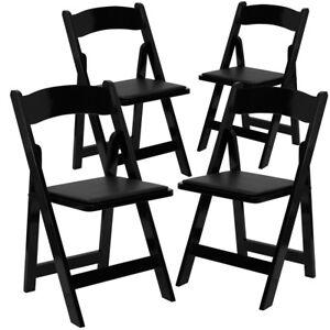 4 Pk Hercules Series Black Wood Folding Chair With Vinyl