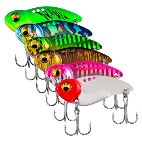 6pcs 5//8//14//20g Metal Blade Fishing Lure Hard VIB Crank Bait Sinking Treble Hook