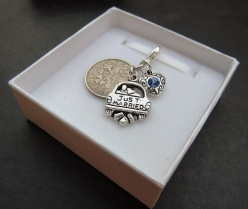 Lucky Sixpence Charm Bride Something Blue Bouquet Garter Personalised Wedding