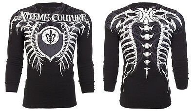 Xtreme Couture AFFLICTION Men THERMAL T-Shirt VERTEBRAE Tattoo Biker M-3XL $58 a