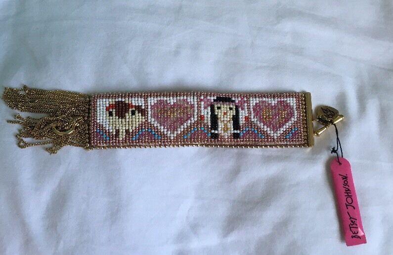 Betsey Johnson Vintage Indian Summer Beaded Heart Girl  Cuff Bracelet RARE