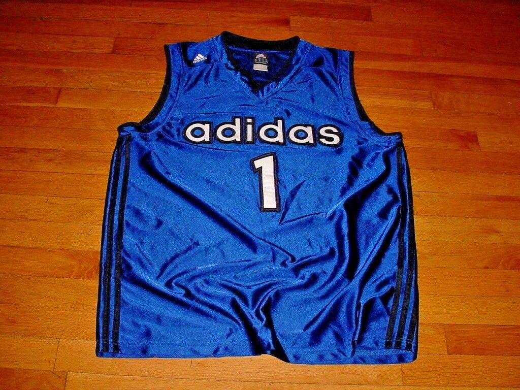 Vintage Adidas Basketball Jersey #1 Royal-Blue/Black … - Gem