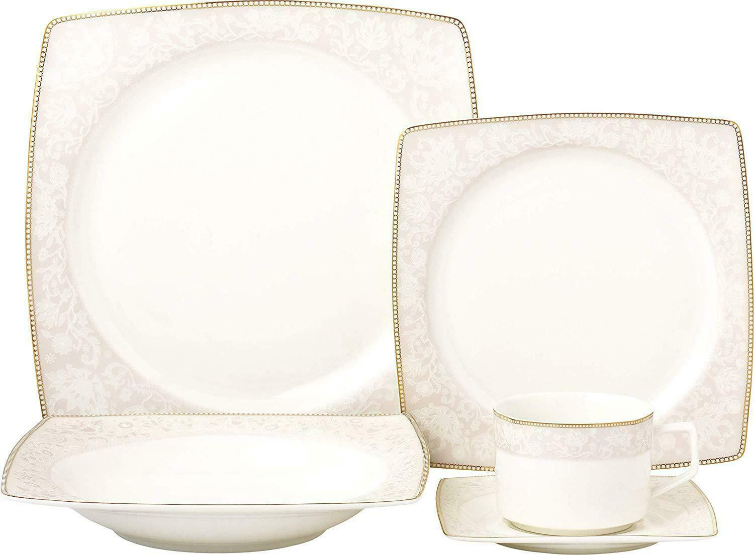 Royalty Porcelain fantaisie design carré 20-pc Dinnerware Set  rose Blossom