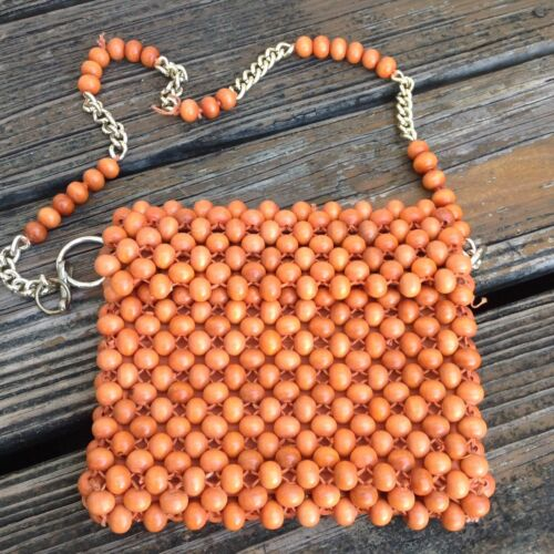 Vintage Wood Beaded Purse Handbag Orange Bag Woven