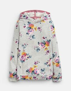 Joules Girls Marlston Hooded Sweatshirt  - NAVY STRIPE FLORAL