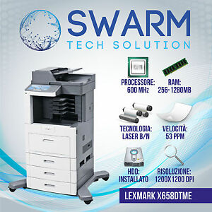 Fotocopiatrice-Multifunzione-Lexmark-X656de-x658de-B-N-F-R-53-ppm-Stampante-Gar