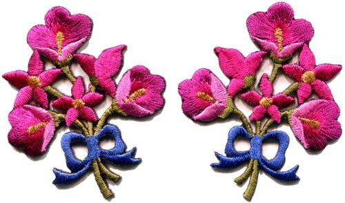 Rose Chaud Lys Paire Fleurs Bouquet Floral Boho Applique iron-on patch S-411