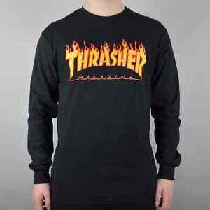 2680839c7b41 Image is loading Thrasher-Flame-Logo-Longsleeve-T-Shirt-Black