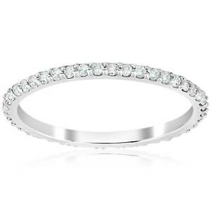 1/2 Ct Diamond Eternity Wedding Stackable Womens Ring 14K White Gold 1.7mm Wide