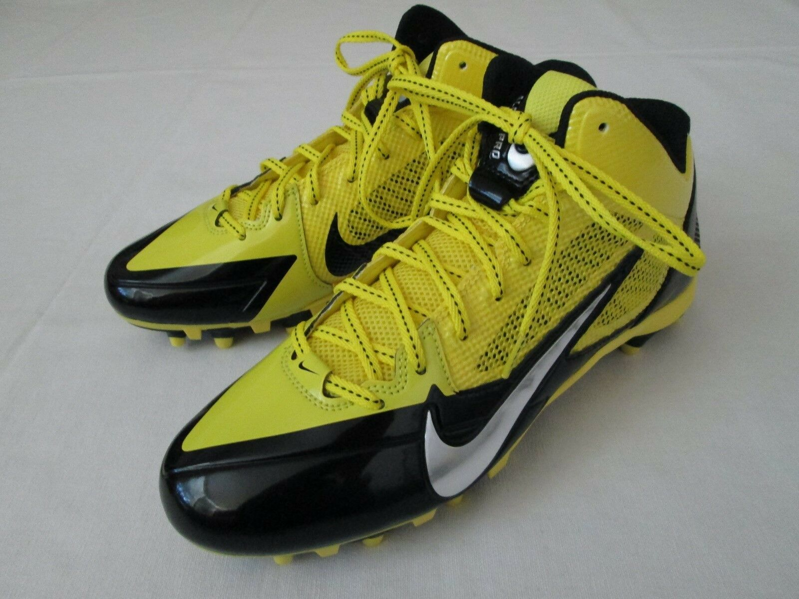 New Mens 10 Nike Flywire Alpha Pro 3 4 TD Football shoes, Yellow Black  94