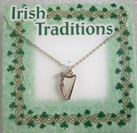 Irish Harp Necklace On 18 Silvertone Chain, Made In Usa, Carded