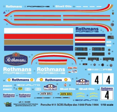 Decals 1//18 Porsche Scrs Rally Of 1000 Tracks 1984 FFSMC Productions
