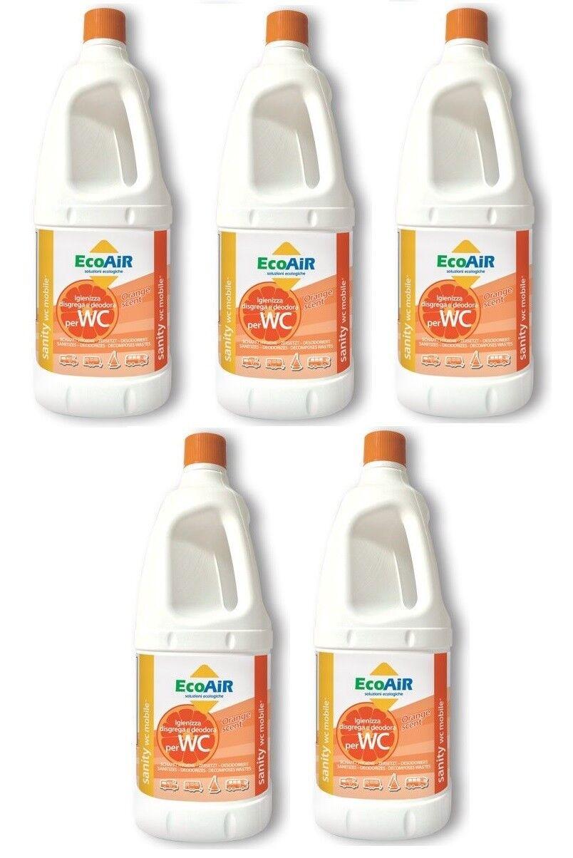 DISGREGANTE SANITY 2 LITRI naranja WC  AQUE NERE CAMPER AQUA KEM  5 BOTTIGLIE   ventas en linea