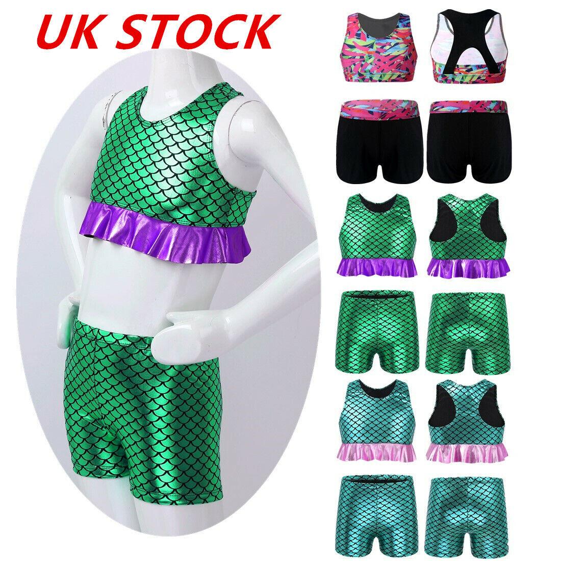 UK Kids Girls Dance Sports Outfit Gymnastics Crop Top Racer Back Shorts Costumes