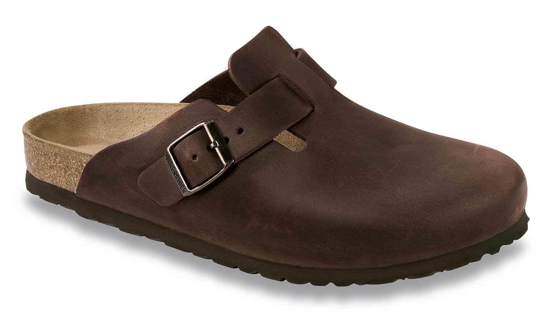 Birkenstock boston zapatillas de casa sandalia es normal/ancha de cuero 860131 marrón NUEVO