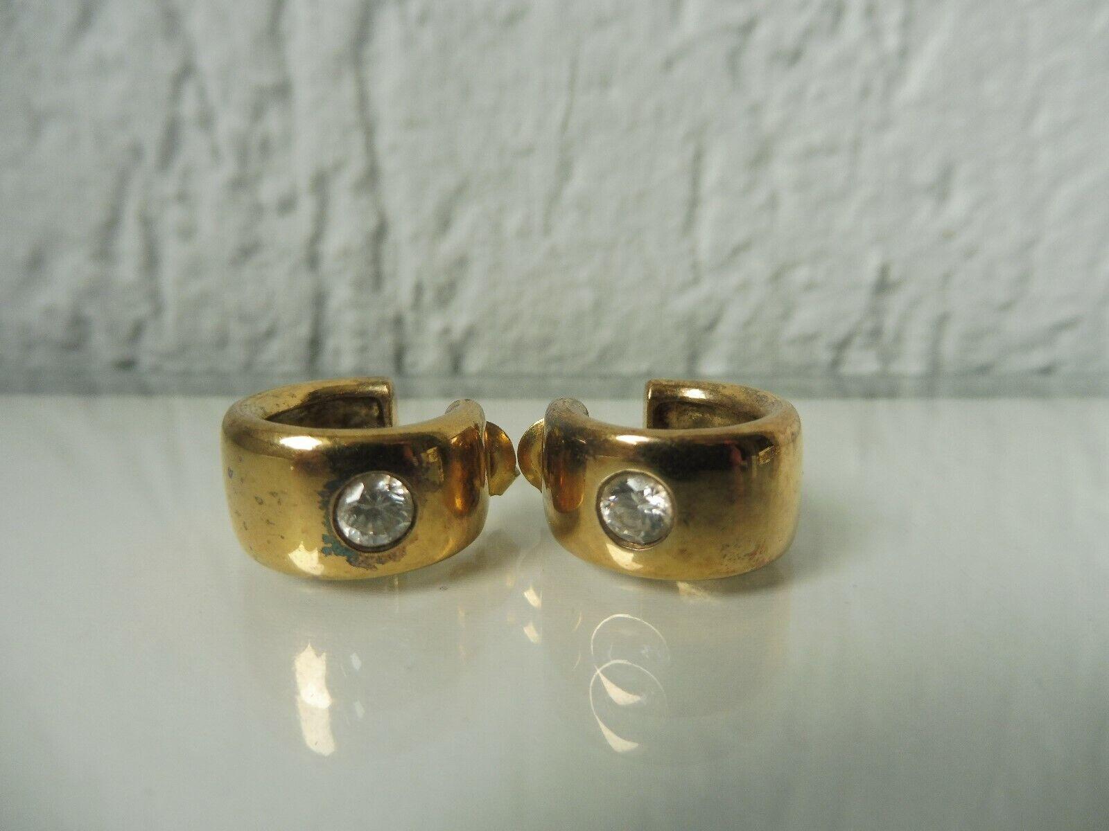 Hermosa, Antiguo Pendientes __ __ silver 925 Dorada con Pulidos Piedras