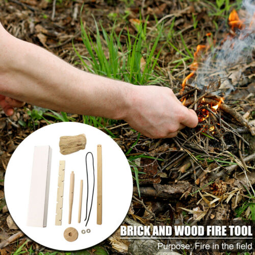 Wood Make Fire Drilling Tool for Outdoor Camping Hiking Survival Activity