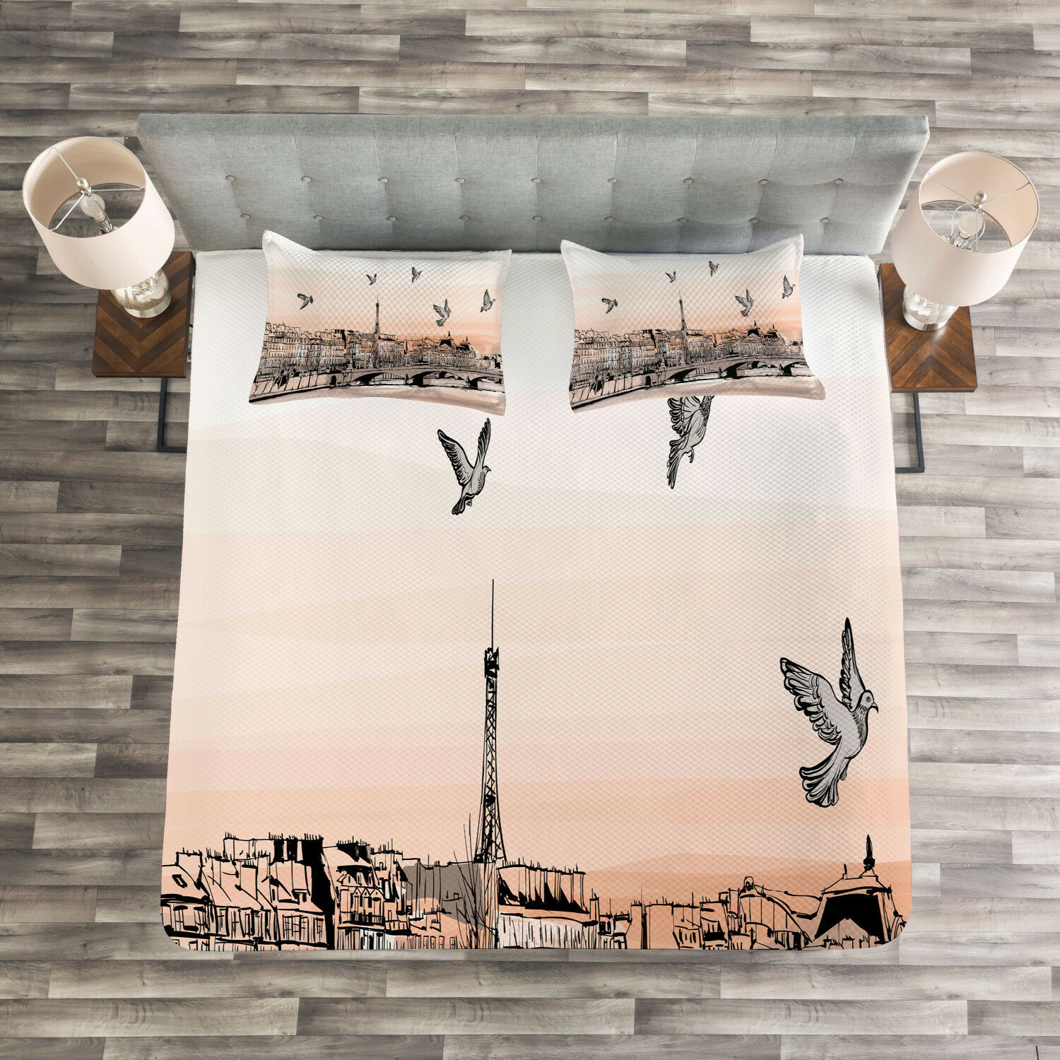 Paris Quilted Bedspread & Pillow Shams Set, Sketch of Eiffel Tower Print