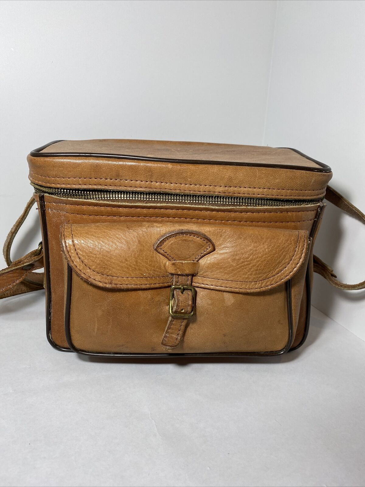 Vintage Perrin CAMERA CASE Cowhide Leather Sportsman 501 bag carrying tote 60s