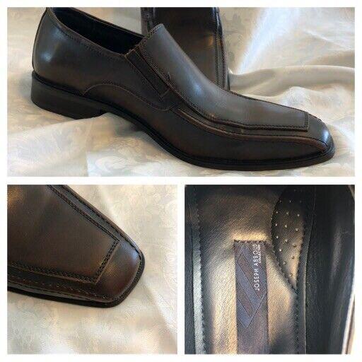 Joseph Abboud Mens Dress Shoes Size 9.5 Brown Leather Dress Square Toe Shoes