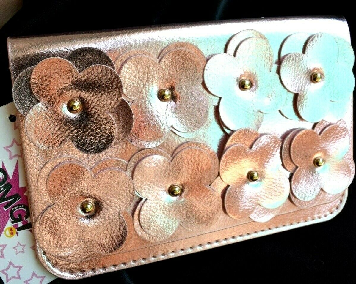 NEW Light Pink Flower appliques phone wallet 2 divisions vegan leather NWT