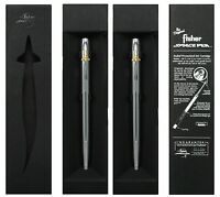 Two (2) Fisher Space Pens M4csh / Chrome Cap-o-mattic Pens With Gold Shuttle